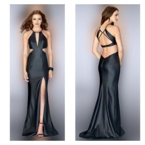 Leather(Vegan) Prom Dress LaFemme Style 24739